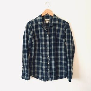 J. CREW Boy Blue Flannel Button Down Size 6